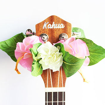 ribbon lei for ukulele (organdie pink b) / ukulele accessories/ ukulele decor / mandolin /hawaiian lei /organdie ribbon / monstera