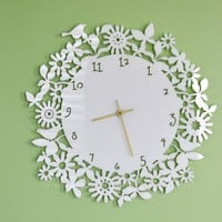 White Floral Clock Large 165 inches by sayhelloshop on Etsy