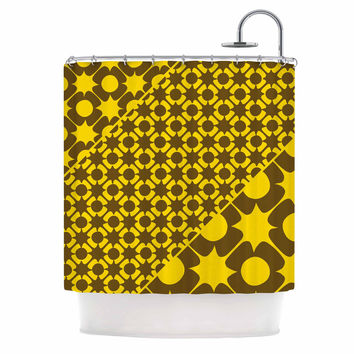 "Nacho Filella ""Pop"" Yellow Vector Shower Curtain"