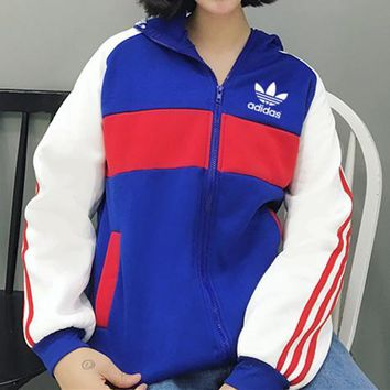 """Adidas"" Women Casual Multicolor Stripe Loose Long Sleeve Zip Cardigan Hooded Coat"