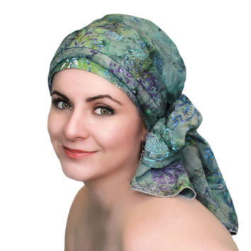 Green Blue Turban, Head Wrap, Alopecia Scarf, Chemo Hat, Hat & Scarf Set, Tranquility