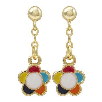 Dark Multi Enamel 9mm Flower, Gold Plated Sterling Silver Post Earrings