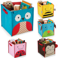 Hot!!Kid's cute lovely zoo style animal pattern children's versitale toys books shoes storage box canvas pouch organizer