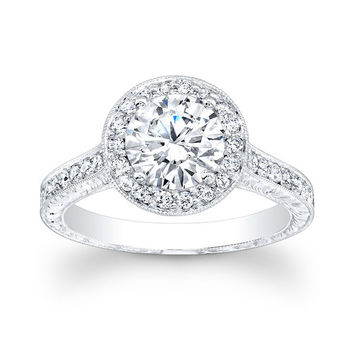 Women's 14kt white gold antique engagement ring 0.50 carats G-VS2 diamonds and 1.50ct (7mm) natural White Sapphire round brilliant center.