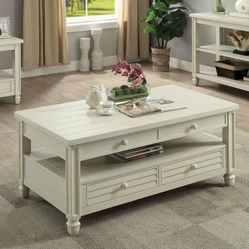 Furniture of america CM4615WH-C Suzette antique white finish wood coffee table with drawers