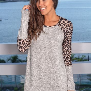 Gray Long Sleeve Top with Leopard Detail
