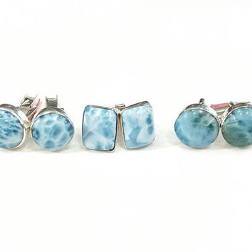 Larimar cufflinks men jewelry silver cuff links gift for him anniversary boyfriend gift man accessories blue boy husband wedding larimar