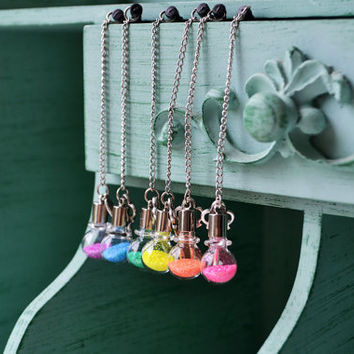 Glitter Vial and Key Cell Phone Charm - SELECT COLOR