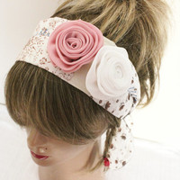 Rose Hair band, Hippie Hair band, Handmade headband, Ethnic fabric headband, Pink white roses hair band, Plaid headband