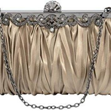 Pulama 1920s Crossbody Bag for Women Vintage Evening Clutch Purse Wallet Coffee