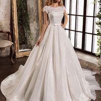 Loverxu Vestido De Noiva Short Sleeve A Line Wedding Dresses 2016 Vintage Appliques Sashes Bride Gown Robe De Marriage Plus Size