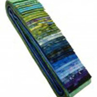 "Cotton Fabric, Batik Fabric, Gemstones - Nature's Moments 1, 40 Pieces, 2 1/2"" strips, Jelly Roll, Craft Supply, Assorted Colors"