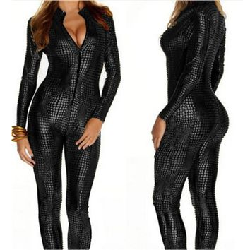 European Sexy Faux Leather Snake Skin Jumpsuit Front Zip Long Sleeve 3 Color Bodysuit Spandex Catsuit Women M7241