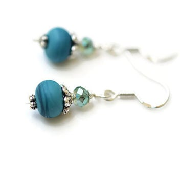 Lampwork Earrings, Teal Sterling Silver Czech Earrings, Teal Sterling Silver Earrings, Artisan Lampwork Bead Earrings