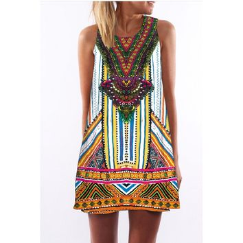 Printed Sleeveless Round Collar Amazon Explosion Dress