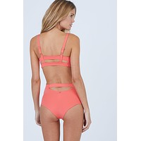 High Waist Back Cut Out Bikini Bottom - Tangerine Orange