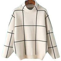 Beige High Neck Plaid Drop Shoulder Long Sleeve Knit Jumper