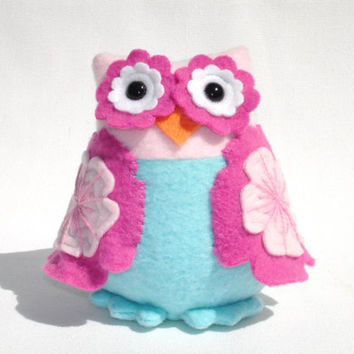 Stuffed owl toy with girly embroidered pink flower wings