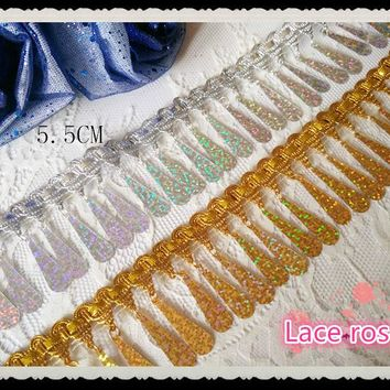 Laser hanger rod gold and silver beaded fringe sequined lace ribbon trim Tassel lace trimming Dance dress accessories