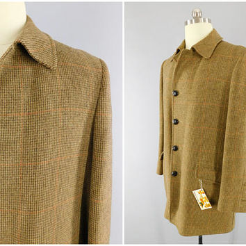 1970s Vintage / Brown Tweed Overcoat / McGregor Coat / Long English Coat / 3/4 Length Coat / Made in USA / Sherlock Holmes Coat / Size M