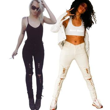New American Apparel Women Stretch Cotton White Designer Sexy Skinny Lace Up Ripped Jeans Pants High Waist Small Bottom Z084
