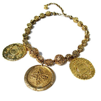 1960s Medallion Necklace Kenneth J Lane Goldtone by CoconutRoad