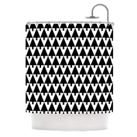 "Gabriela Fuente ""Happy X-Mas Black & White"" Geometric Monotone Shower Curtain"
