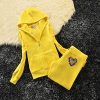 Juicy Couture Studded Love Flowers Logo Crown Velour Tracksuit 6131 2pcs Women Suits Yellow