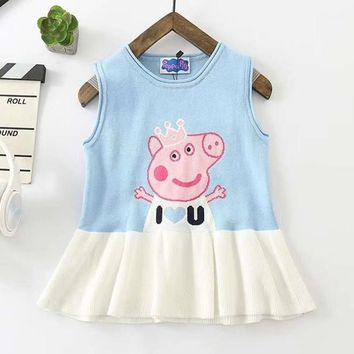 Peppa Pig Girls Children Baby Toddler Kids Child Fashion Casual Vest Dress
