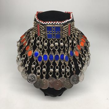 Antique Afghan Kuchi Choker Tribal Multi-Color Glass Jingle Coins Necklace,Ck162