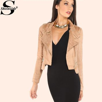 Sheinside Camel Suede Moto & Biker Jacket COCO For Ladies 2017 Autumn Casual Crop Jacket With Zipper Women's Plain Jacket