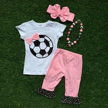 Little Girl's 4PC Soccer Outfit Pink Capris Matching Necklace and Headband