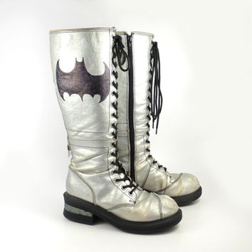 NaNA Silver Boots Vintage 1990s Tall Leather Lace Up Super Hero Women's size 8