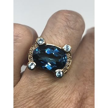Vintage geniune blue topaz and white sapphire golden 925 sterling silver rhodium Ring