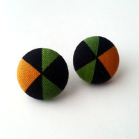 NEW Black yellow and olive green geometric/ tribal fabric button earrings