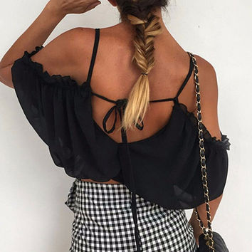 Madelyn Marie Open-Shoulder Crop Top