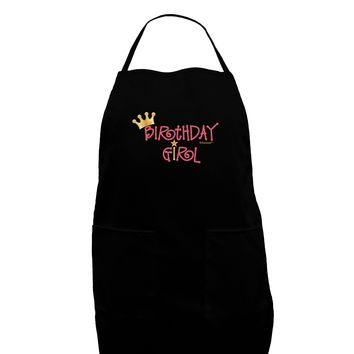 Birthday Girl - Princess Crown and Wand Dark Adult Apron by TooLoud