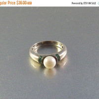 20% Off Vintage Sterling Ring Pearl Emerald Baguette Size 5