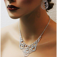 Bridal statement , Vintage inspired bridal jewelry, Bridal bib necklace , crystal necklace, Great Gatsby jewlery