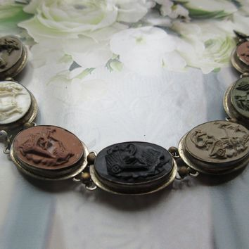 Antique 800 Silver Lava Cameo Bracelet, Seven Days Of The Week Cameo Bracelet