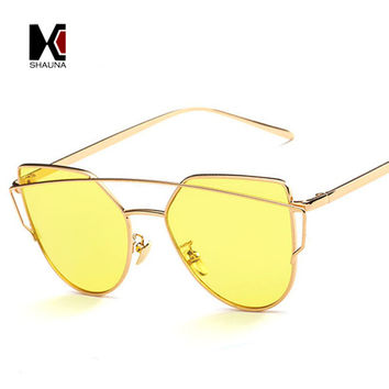 Stylish Flat Women Panel Mirror Lens Cat Eye Sunglasses Classic Brand Designer Men Twin-Beams Tint Sunglasses UV400