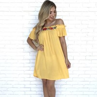 Garden Sunrise Off Shoulder Dress