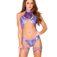 Light Purple Holographic Cutout Rave Bodysuit
