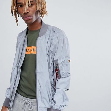 Alpha Industries MA1-Reflective Bomber Jacket in Silver at asos.com