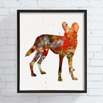 Wild Dog Art Print, Watercolor Wild Dog, African Animals, Lycaon Pictus, Wild Dog Poster, Wild Dog Painting, Watercolor Animal, Wildlife
