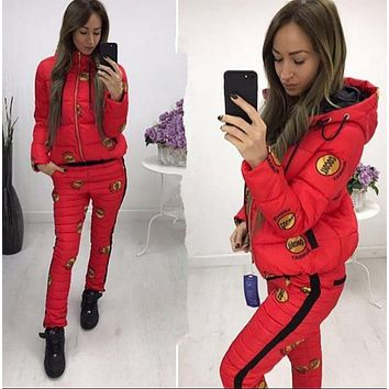 Fashion Casual Keep Warm Long Sleeve Pants Coat Down jacket Two Piece Set Red