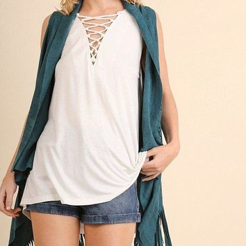 Sleeveless Crisscross Top Off White
