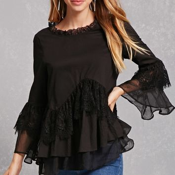 Eyelash Lace Accent Top
