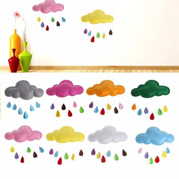 1PC Kids Play Tent Decoration Tent Props Toy Raining Clouds Water Drop/Star Moon Baby Bed Room Hanging Decor Wall Stickers