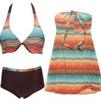 3 Piece Bikini Set print Bathing Suit Women's Swimsuit printed Swimwear Plus Size Bathing Suits  Material: Nylon ,Polyester = 1955883780